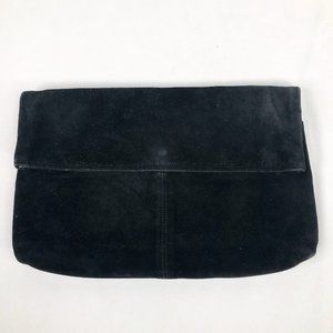 Lord & Taylor Black Suede Large Envelope Clutch